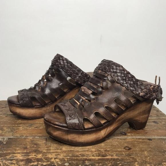 Freebird | Honey Woven Leather Wood Clog Heels